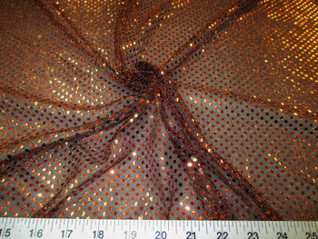 Fabric Stretch Glitter Mesh Sequin Dots Black and Copper Sheer Sparkle 51L