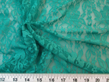 Discount Fabric Stretch Mesh Lace Teal Floral Sheer 02LC
