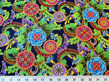 Fabric Quilting Cotton Legacy Studio Polynesia Master Medallion Floral 25T