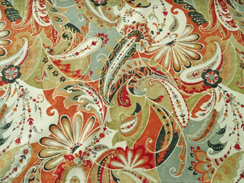 Discount Fabric Richloom Upholstery Drapery Reynard Coral Paisley Floral 47MM