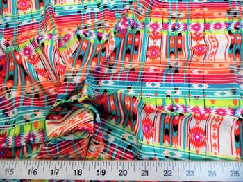 Discount Fabric Challis Rayon Apparel Aztec Vibrant Orange Yellow Pink 208F