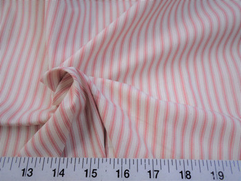 Discount Fabric Upholstery Drapery Ticking Stripe Coral Pink / Natural 39KK