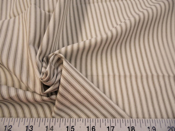 Discount Fabric Upholstery Drapery Ticking Stripe Fawn Brown / Natural 41KK