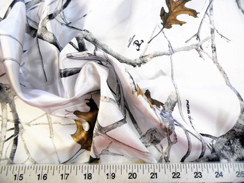 Discount Fabric True Timber Camo Conceal Snow Charmeuse Silky Bridal Satin 18CS