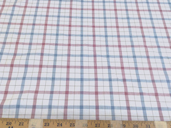 Discount Fabric Top Weight Cotton Shirting Apparel Red and Blue Plaid 012CT
