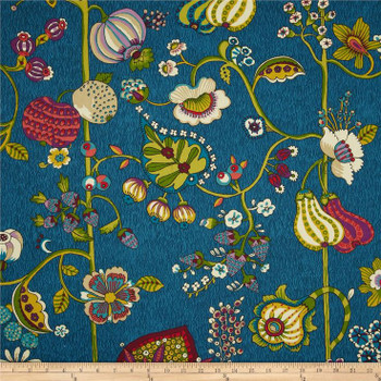 Discount Fabric Richloom Upholstery Drapery Delphine Sateen Bouquet Blue 105RL