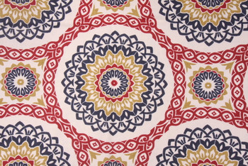 Discount Fabric Richloom Upholstery Drapery Olympus Jewel Navy Medallion 108RL