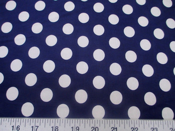 Discount Fabric Printed Lycra Spandex Stretch Navy with White Polka Dots 201G