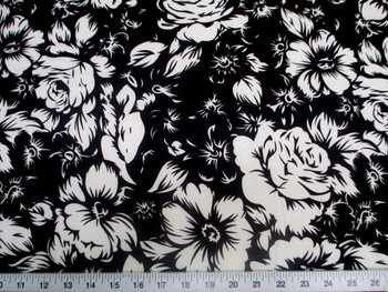 Discount Fabric Printed Lycra Spandex Stretch Black White Large Rose Floral 300G