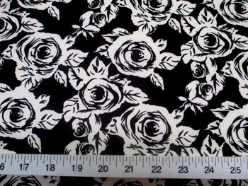 Discount Fabric Printed Lycra Spandex Stretch Black White Small Rose Floral 300D