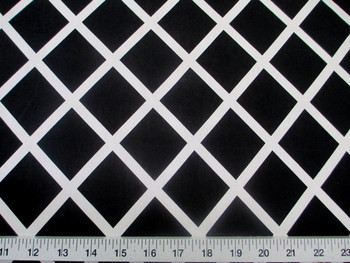Discount Fabric Printed Lycra Spandex Stretch Black Diamond White Lattice 400B
