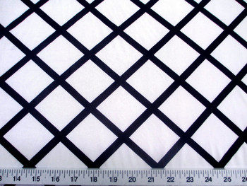 Discount Fabric Printed Lycra Spandex Stretch White Diamond Black Lattice 402C