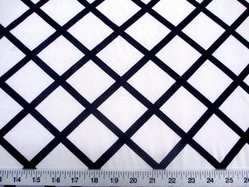 Discount Fabric Printed Lycra Spandex Stretch White Diamond Black Lattice 402C