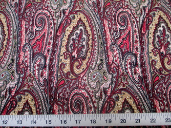 Discount Fabric Printed Lycra Spandex Stretch Paisley Pink, Black and Tan 201D
