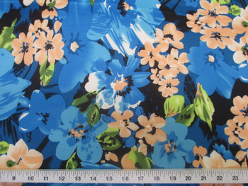 Discount Fabric Printed Lycra Spandex Stretch Bold Floral Turquoise blue 401B