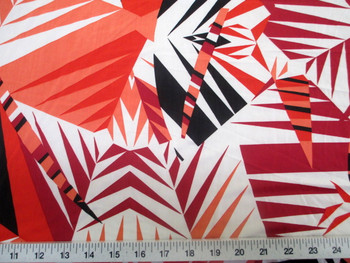 Discount Fabric Printed Lycra Spandex Stretch Orange Black Bamboo Leaves 300A
