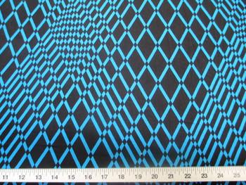 Discount Fabric Printed Lycra Spandex Stretch Turquoise Geometric Diamonds 200B