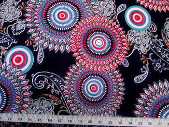 Discount Fabric Printed Spandex Stretch Sunflower Turquoise Blue and Red 301D