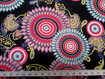 Discount Fabric Printed Spandex Stretch Sunflower Pink Yellow and Turquoise 401D