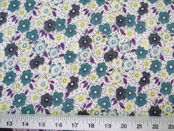 Discount Fabric Challis Rayon Teal, Gray and Yellow Floral 2 yds @ $6.99 302J