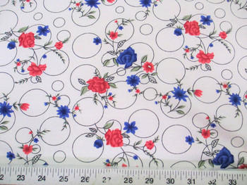 Discount Fabric Challis Rayon Pink and Blue Floral on Bubbles 2 yds @ $6.99 201K