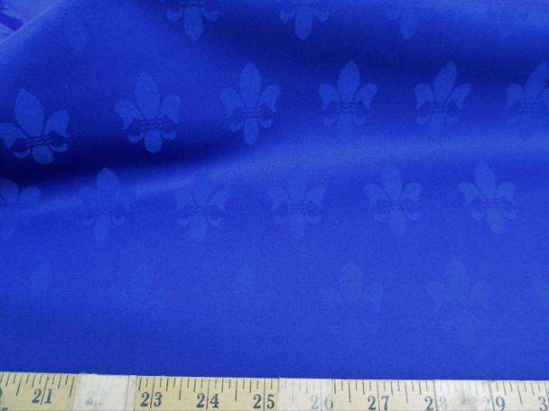 Discount Fabric Upholstery Drapery Twill Jacquard Fleur de Lis Royal Blue 53DR