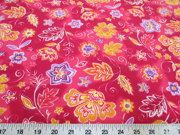 Discount Fabric Drapery Pink, Orange and Purple Bold Floral 55DR