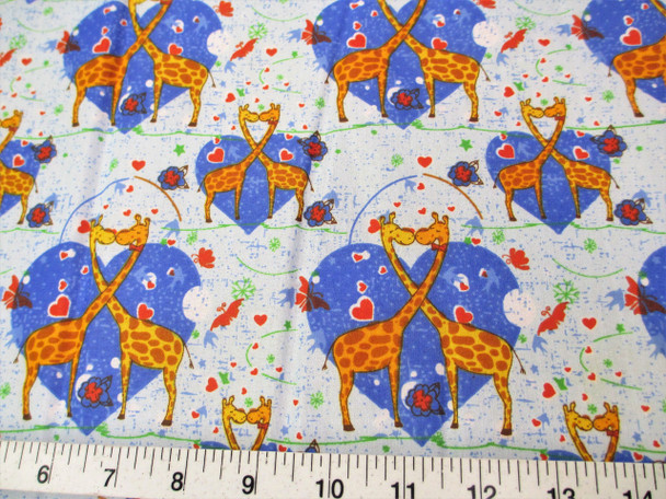 Discount Fabric Cotton Apparel Heart Kissing Blue Giraffes 302K