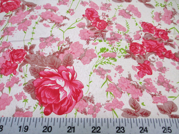 Discount Fabric Cotton Apparel Pink and Tan Floral 305K