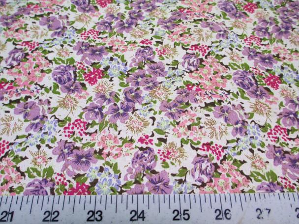 Discount Fabric Cotton Apparel Purple and Pink Springtime Floral 309K
