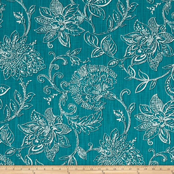 Discount Fabric Richloom Upholstery Drapery Benson Agean Teal Floral 34MM
