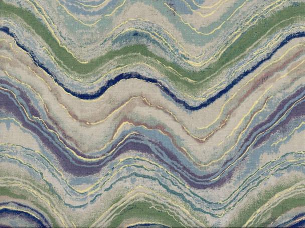 Discount Fabric Richloom Upholstery Drapery Florence Aquamarine Waves 13NN