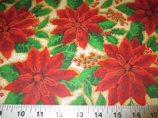Discount Fabric Cotton Apparel Christmas Red Poinsettia Floral 14T