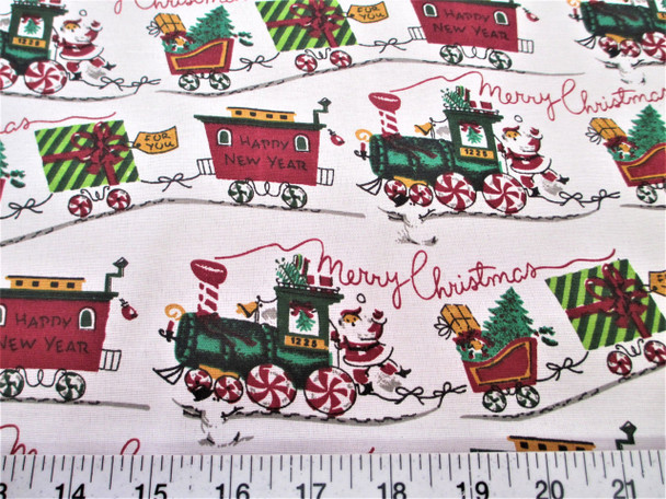 Discount Fabric Quilting Cotton Merry Christmas Trains, Happy New Year 17T