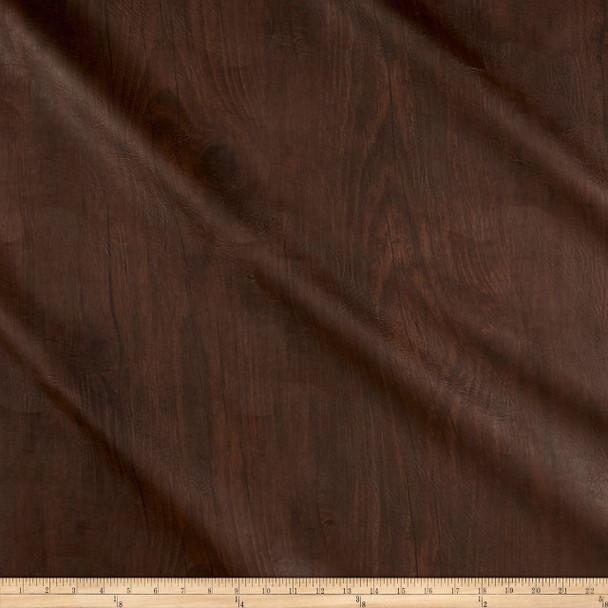 Discount Fabric Richloom Tough Faux Leather Pleather Vinyl Dellwood Walnut 40SS