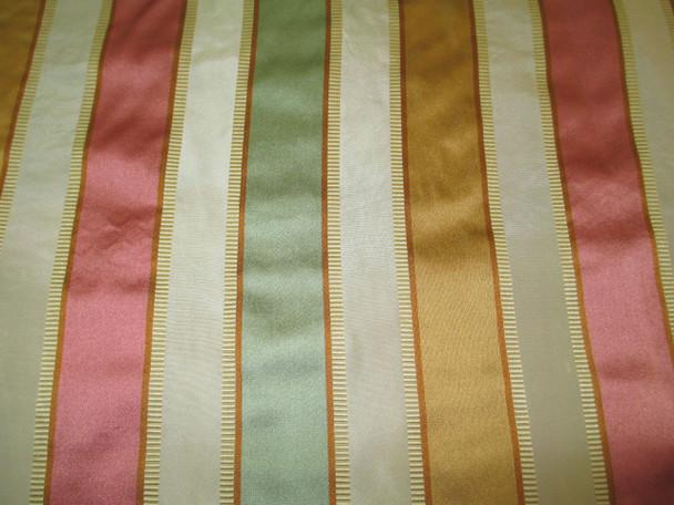 Fabric Robert Allen Beacon Hill Bourbon Stripe Topaz 100% Silk Drapery 14II