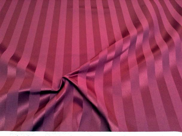 Discount Fabric Upholstery Drapery Brocade Satin Stripe Burgundy 29DR