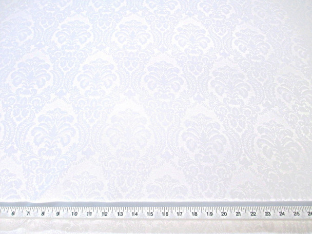 Discount Fabric 72 inches wide Drapery Damask Jacquard Floral White 47DR