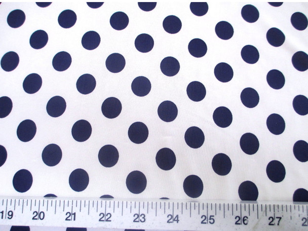 Discount Fabric Printed Lycra Spandex Stretch White with Navy Polka Dots 300H