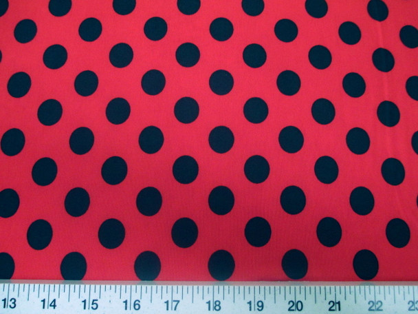 Discount Fabric Printed Lycra Spandex Stretch Red with Black Polka Dots 200G