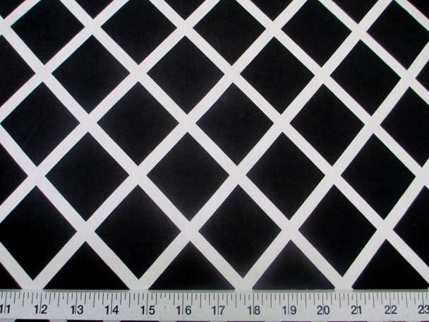 Discount Fabric Printed Lycra Spandex Stretch Black Diamond White Lattice 400B