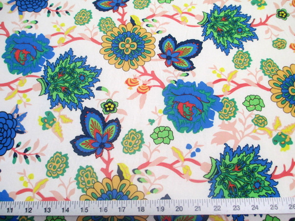 Discount Fabric Printed Lycra Spandex Stretch Pink Blue White Floral 200F