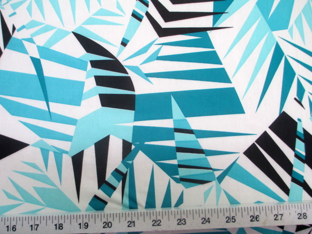 Discount Fabric Printed Lycra Spandex Stretch Mint Black Bamboo Leaves 200A