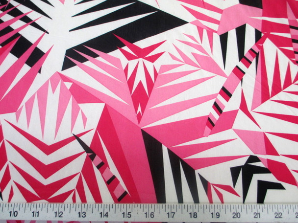 Discount Fabric Printed Lycra Spandex Stretch Pink Black Bamboo Leaves 302A