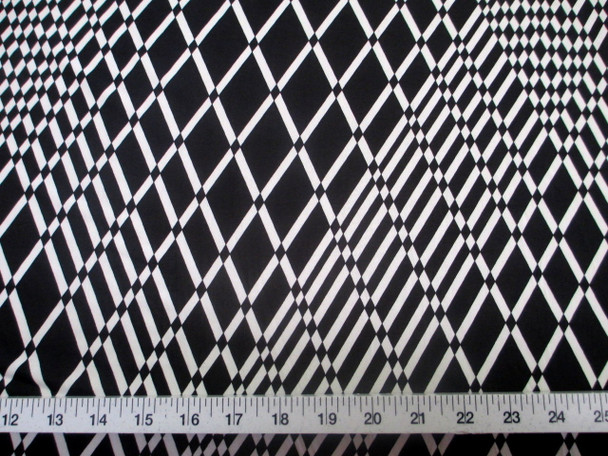 Discount Fabric Printed Lycra Spandex Stretch Black White Geometric Diamond 201B