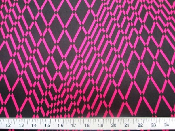Discount Fabric Printed Lycra Spandex Stretch Pink Black Geometric Diamonds 202B