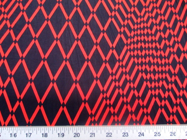 Discount Fabric Printed Lycra Spandex Stretch Red Orange Geometric Diamonds 201C
