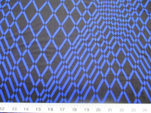 Discount Fabric Printed Lycra Spandex Stretch Royal Blue Geometric Diamonds 300B
