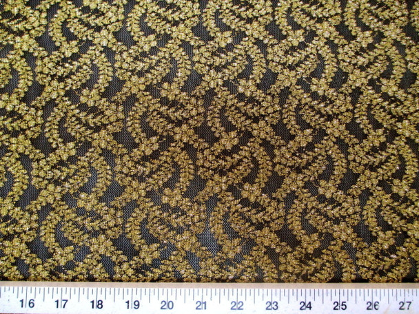 Discount Fabric Stretch Lace Black Metallic Gold Floral 100LC