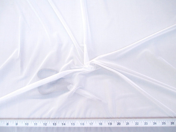 Discount Fabric White PowerNet Mesh Spandex 4 way Stretch sheer 200PO